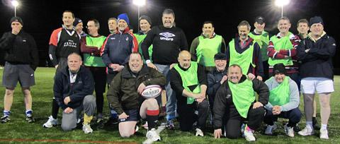 Some of the rugby veterans in training ahead of the charity match at Terrington Hall School, near Malton, next month