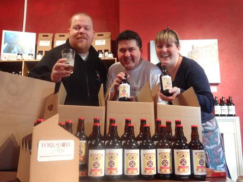 From left, Stuart Neilson, of North Riding Brew Pub, with Adrian and Vicky Pettitt from Yorkshire Ales in Snaith