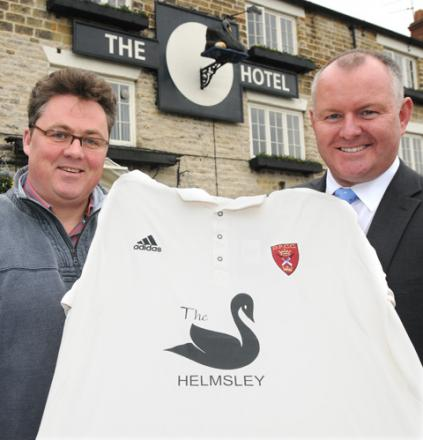 John Higgs, left, with Paul O'Hanlon, general manager of the Black Swan in Helmsley which is sponsoring Duncombe Park Cricket Club