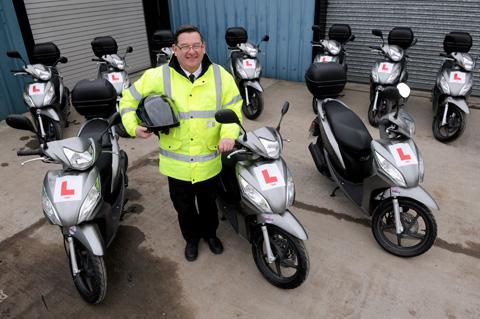 Wheels 2 Work  co-ordinator Philip Hoyle with some of the new scooters at Ryedale Community Transport in Norton