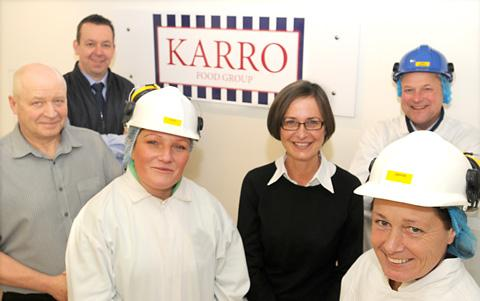 Helping to launch the new company logo at Karro in Norton, are from left, Phil Sprakes, William De Klein, Jennifer Mason, Catherine Wild, Janine Holmes and Nigel Williams