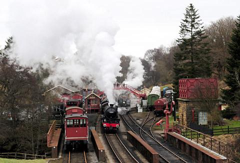 Trains at Goathland Station on the North Yorkshire Moors Railway