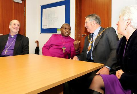 The Archbishop of York Dr John Sentamu visits Ryedale District Council offices, pictured with the Bishop of Selby, the Rt Rev Martin Wallace, council chairman Eric Hope and council chief executive Janet Waggott