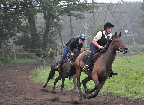 Ruth Carr leads jockey Ben Howe on the gallops at her Stillington base. Picture:  Steve Carroll