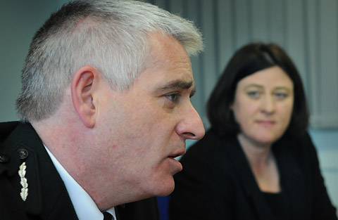 The new Chief Constable of North Yorkshire, Dave Jones, speaking at the press conference confirming his appointment, watched by the police and crime commissioner for North Yorkshire, Julia Mulligan