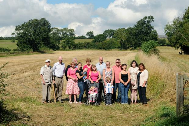 Coun Sarah Ward, right, with  residents at the site of the proposed new housing estate in Kirkby-moorside