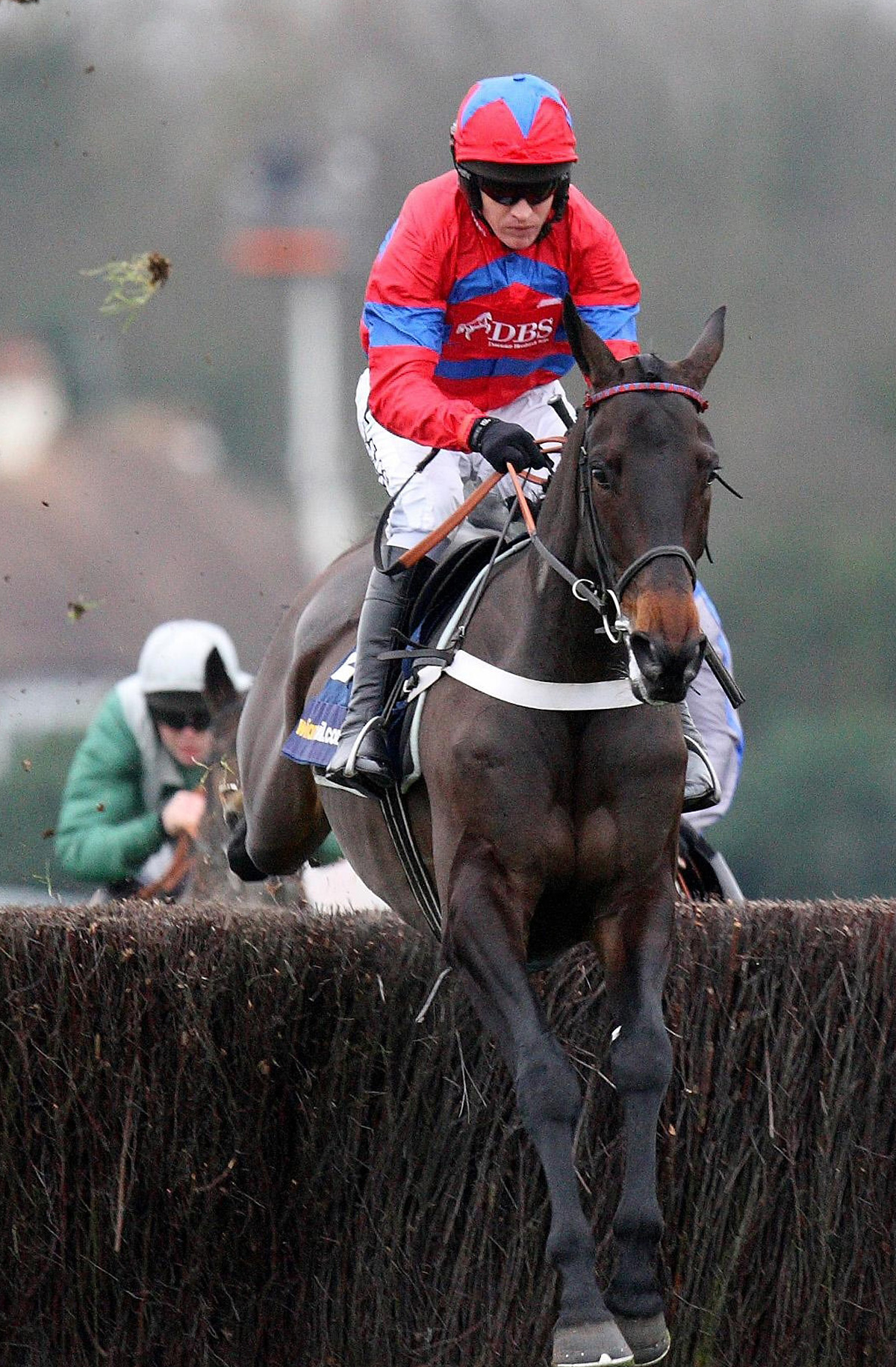 Sprinter Sacre,  ridden by Barry Geraghty, on the way to a previous victory at Kempton Park, the course where he was pulled up last week and found to have an irregular heartbeat