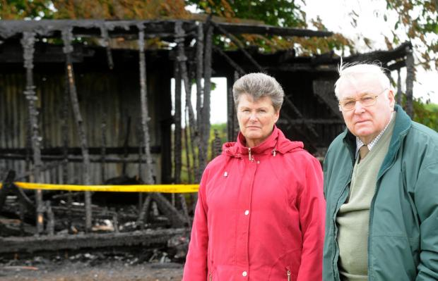 Gordon Hoggard and Joy Hudson in the burnt out remains of the Old Malton Cricket Pavillion Picture Frank Dwyer