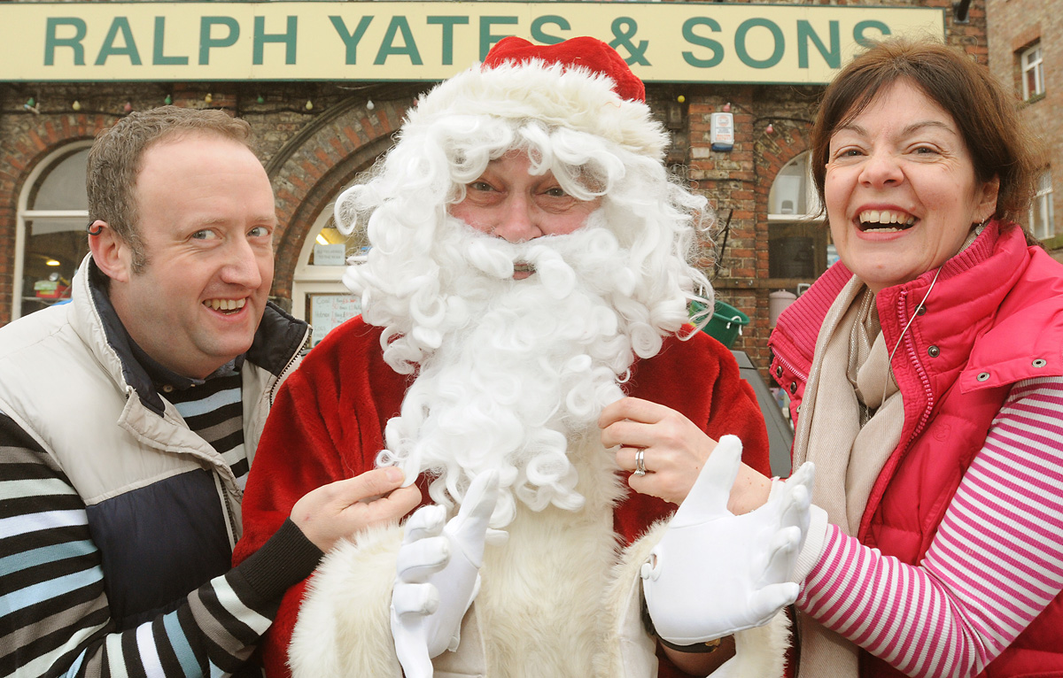 Jezz Kipling, chairman of the League of Friends of Malton Hospital, with Father Christmas and Sarah Clark, of Yates