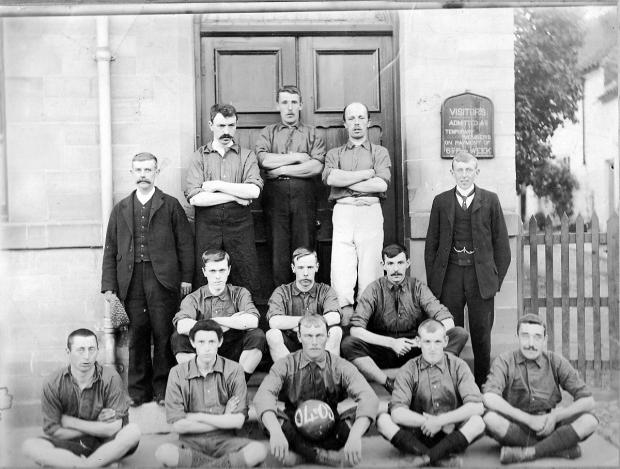 Front row from left are: Harry Thompson, unknown, John Marflit, unknown, Frank Skelton; second row: Bumper Barnes, unknown, unknown; third row: Bob Jackson, Bert Garbutt; back row: unknown; George Skelton, Jack Hardy.