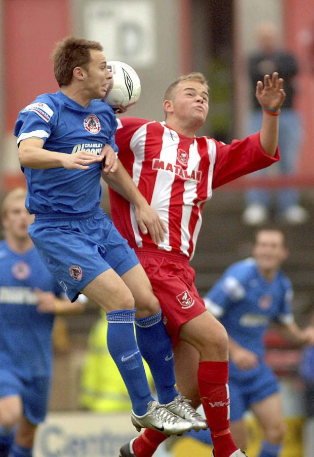 Gazette & Herald: Jimmy Beadle, pictured, right, playing for Boro against Crawley as a teenager, has rejoined the Seadogs