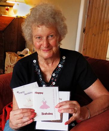 Jill Hiatt, who has raised more than £8,000 for WaterAid by selling her homemade cards. She has pledged to continue  as long as people still support her efforts