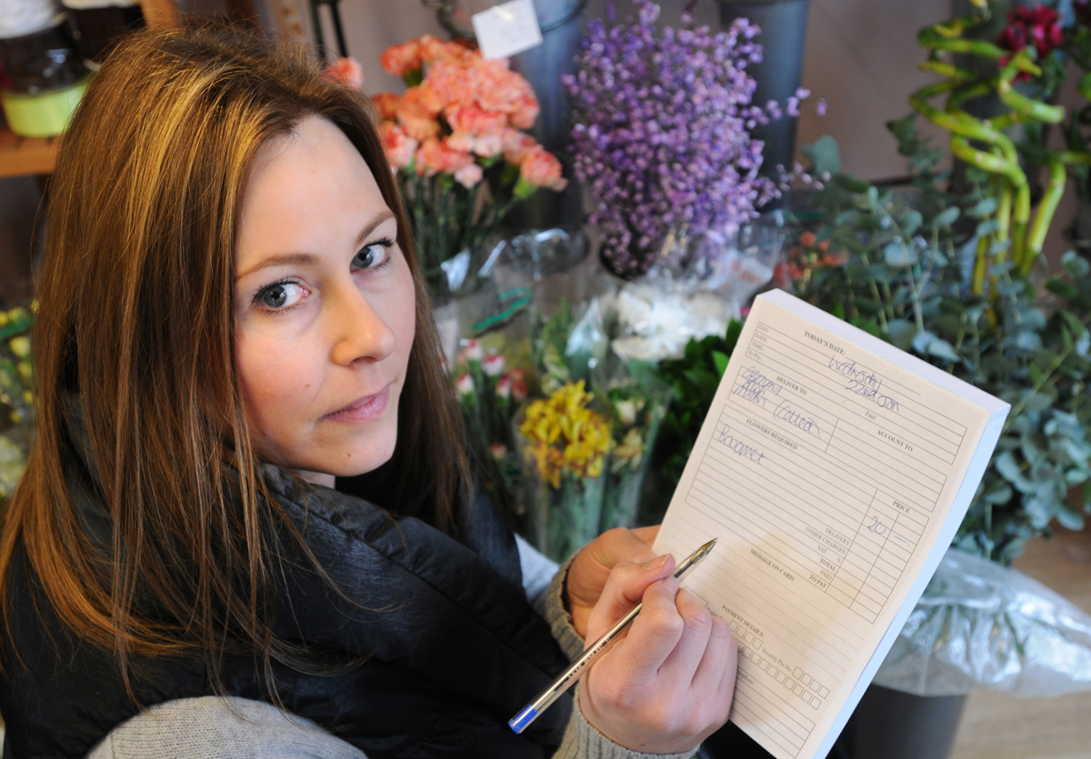 Gemma Bicknell, owner of the Topiary Tree Flower Shop, in Malton, appeals for customers to come forward after her order book was taken in a break-in