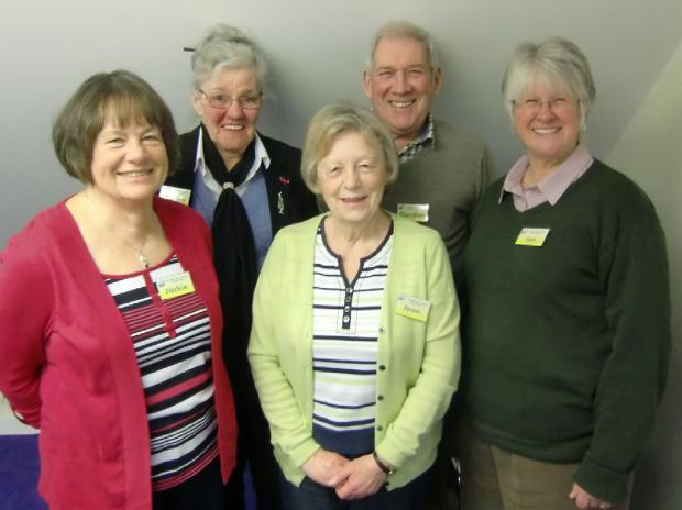 The support and social group committee members Jackie Anderson, Marion Allbury, Jean Simpson, Gordon Clitheroe and Jan Firth