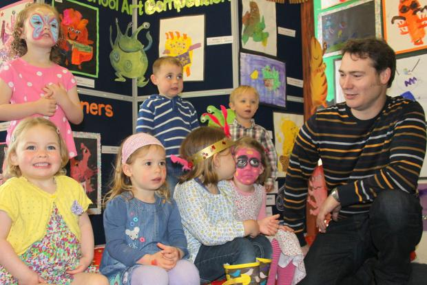 Artist Robert Fuller presented the prizes at last year's York and Area Pre-School Art Competition