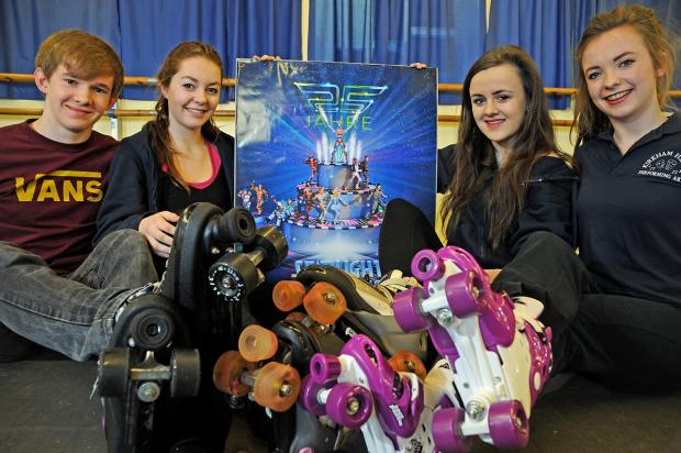 From left, Ollie Fearn, Beth Armstrong, Sophie Roger and Ria Williams launch the appeal for skates for Starlight Express