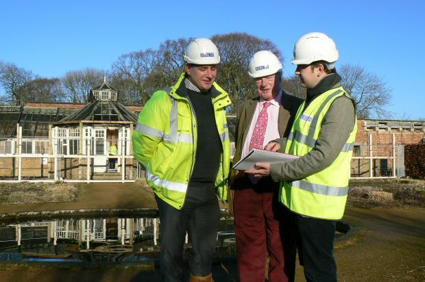 From left, Lee Scaife, contracts manager at William Birch & Sons Ltd; Sir Charles Legard, director of Scampston Conservatory Preservation Company and Jack Klinck, architectural assistant at Caroe Architecture Ltd