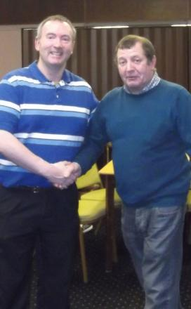 Billy Hague, the 2012 and 2013 Pickering Rec Club Individual Darts League winner, left, with his 2014 conqueror, and new champion, Phil Bointon