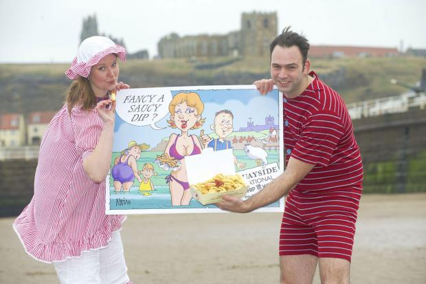 Stuart Fusco, director and head chef at Quayside, with Lucy Robertson, of Absolutely Food PR and Marketing, on the beach at Whitby