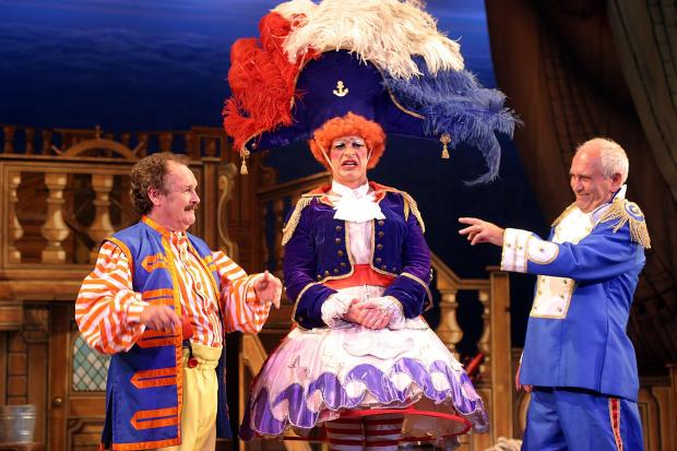 Bobby Ball, left, as Bobby the Mate in Dick Whittington in 2005, will be in Norton this month