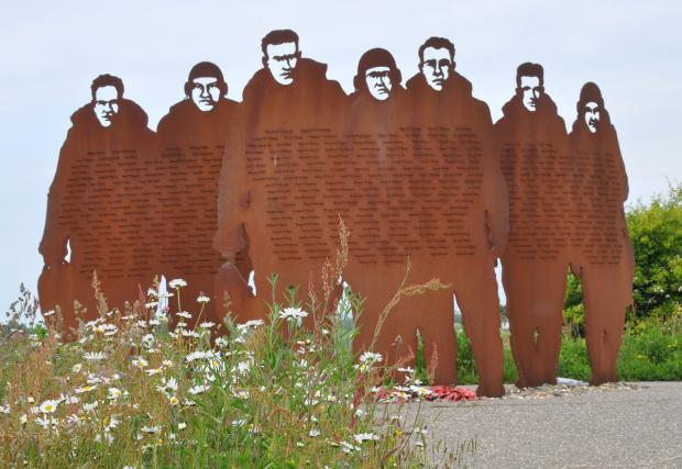 Gazette & Herald: This memorial is a sculpture in metal of seven figures in silhouette representing bomber crews of 158 Squadron