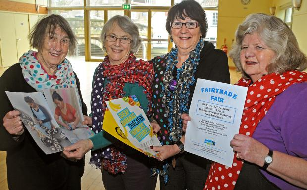 Pickering Fairtrade group members Judy Dixon, Hazel Page, Joan Lovejoy and Daphne Bowes help promote Saturday's fair to mark Fairtrade Fortnight