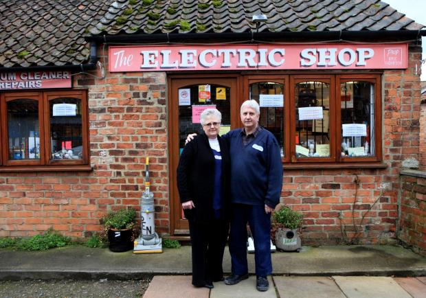 Gazette & Herald: The Electrical shop in Thirsk which brought power to Thirsk and Catterick Garrison set to close after 91 years, pictured owners David and Susan Higgs