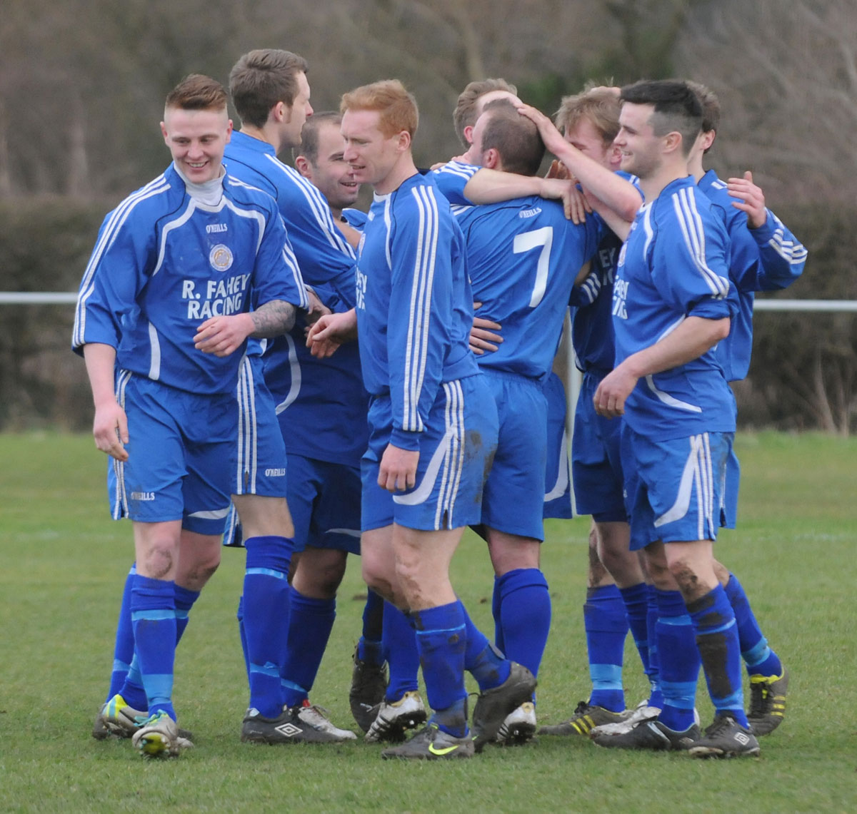 Old Malton St Mary's celebrate Richard Dunning's goal against Dunnington in the York Minster Engineering League premier division