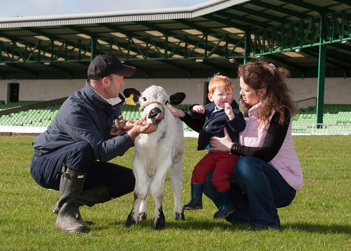 George Lund, two, of Malton with his mum, Emma, farmer Andrew Fisher, of Low Laithe, near Harrogate, and his two-week-old British W