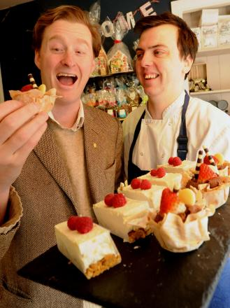 Tom Naylor-Leyland, left, with Andrew Walker, of The Patisserie, Malton, helping to promote Malton as Yorkshire's food capital