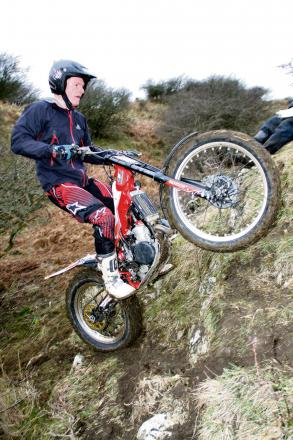 WHEELIE GOOD: Adam Milner on his way to victory at Long Plain Farm