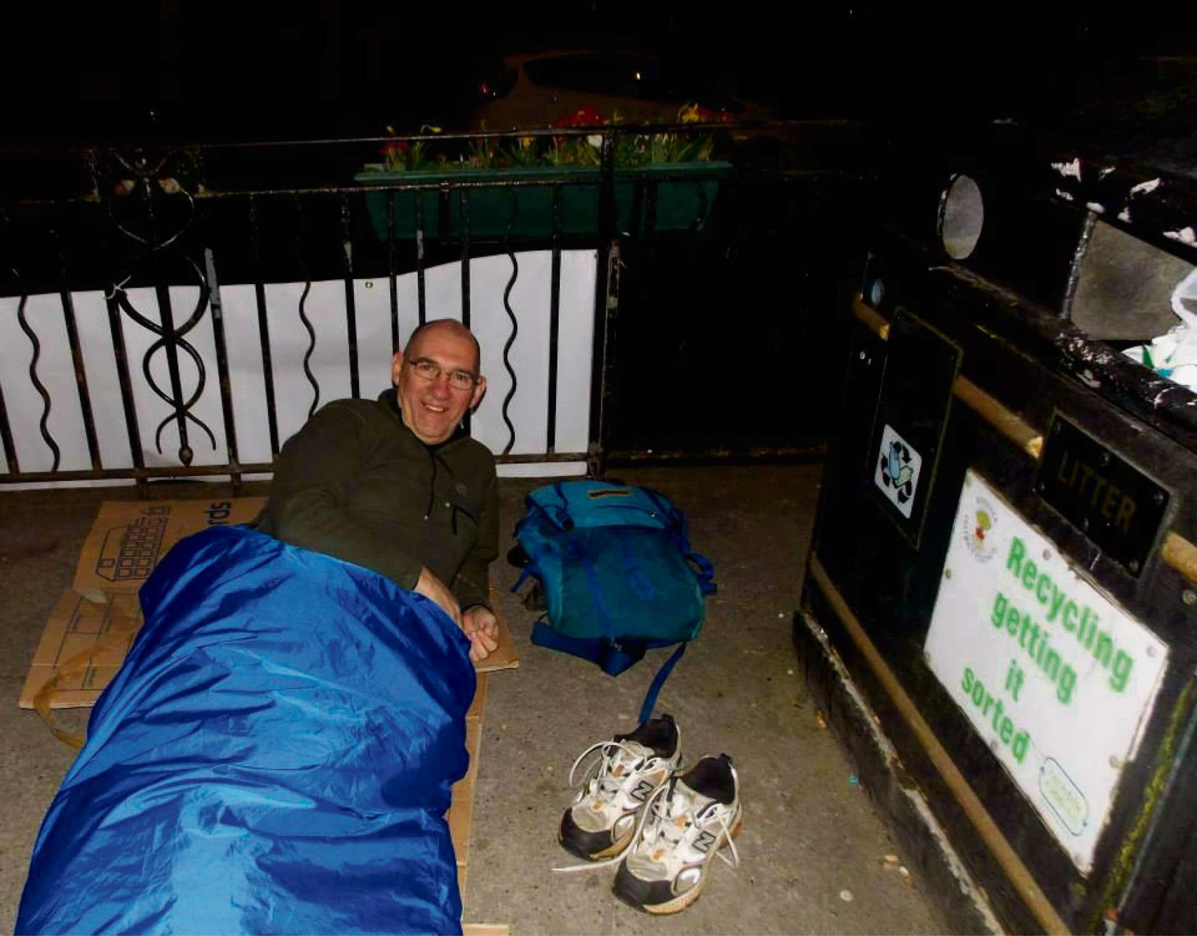One of the people who took part in the sleepout in Kirkbymoorside, which raised more than £2,000