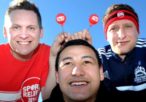 Gazette & Herald: Malton Community Sports Club staff who are taking part in events for Sports Relief    (l-r), Jay Rowley, Kenton Leiataua and Matty Hood