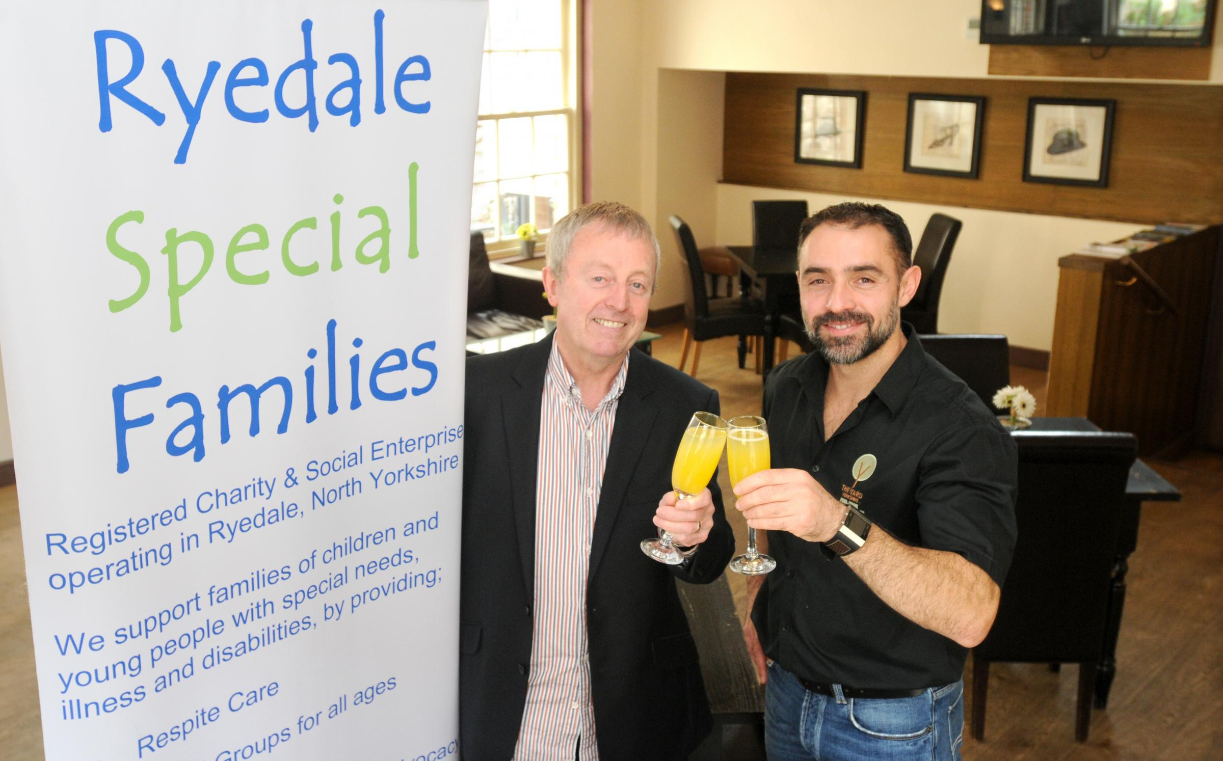 From left,  Rob Davies of Ryedale Special Families and Kini Fe