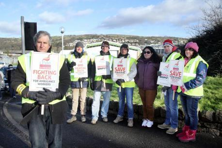 Unite pickets outside Keighley ambulance station during previous strike action