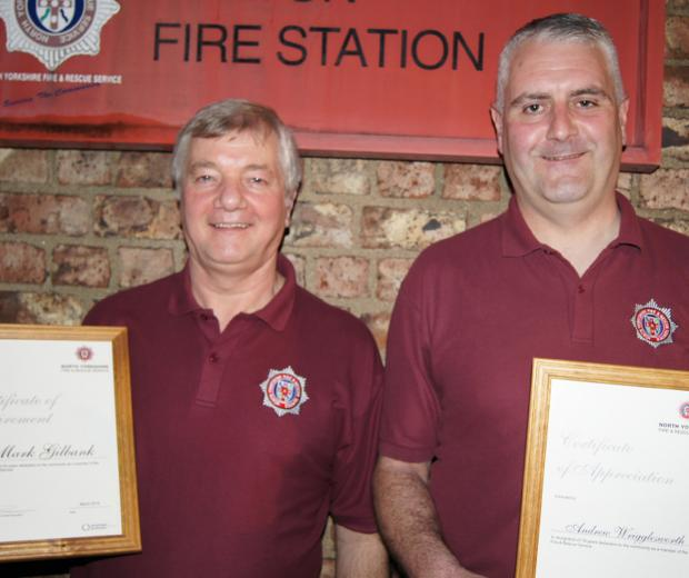 Mark Gilbank and Andrew Wrigglesworth, who have retired from Malton fire station