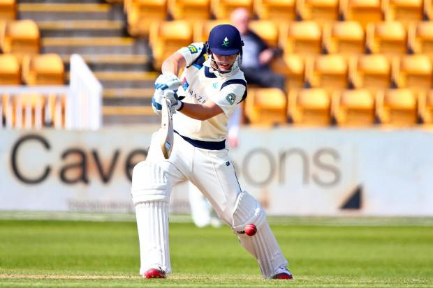Yorkshire's Alex Lees hits out much to the admiration of Kane Williamson. Picture: Alex Whitehead/swpix.com