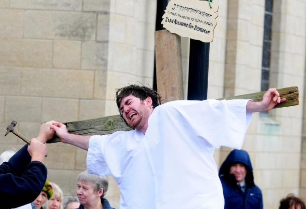 Gazette & Herald: The Good Friday service in the Market Place, Malton. Jesus played by Scott Lavery.