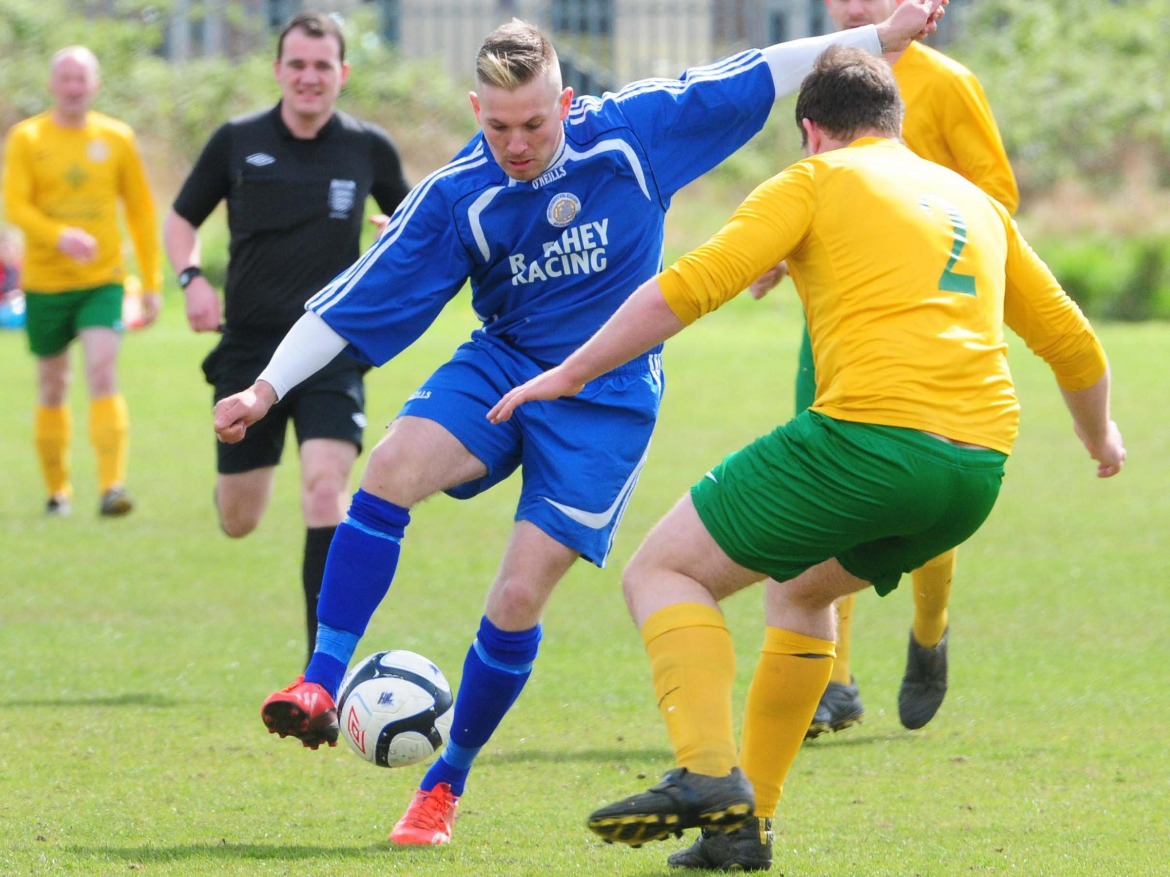 Marcus Godsell  in action for Old Malton St Mary's against Huntington Rovers