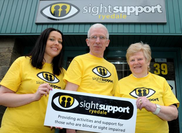 Sight Support Ryedale fundraising committee, fromleft,Vicky Stott, assistant chief officer, Martin Baxter, chairman of the trustees, and volunteer Hazel Chaplow