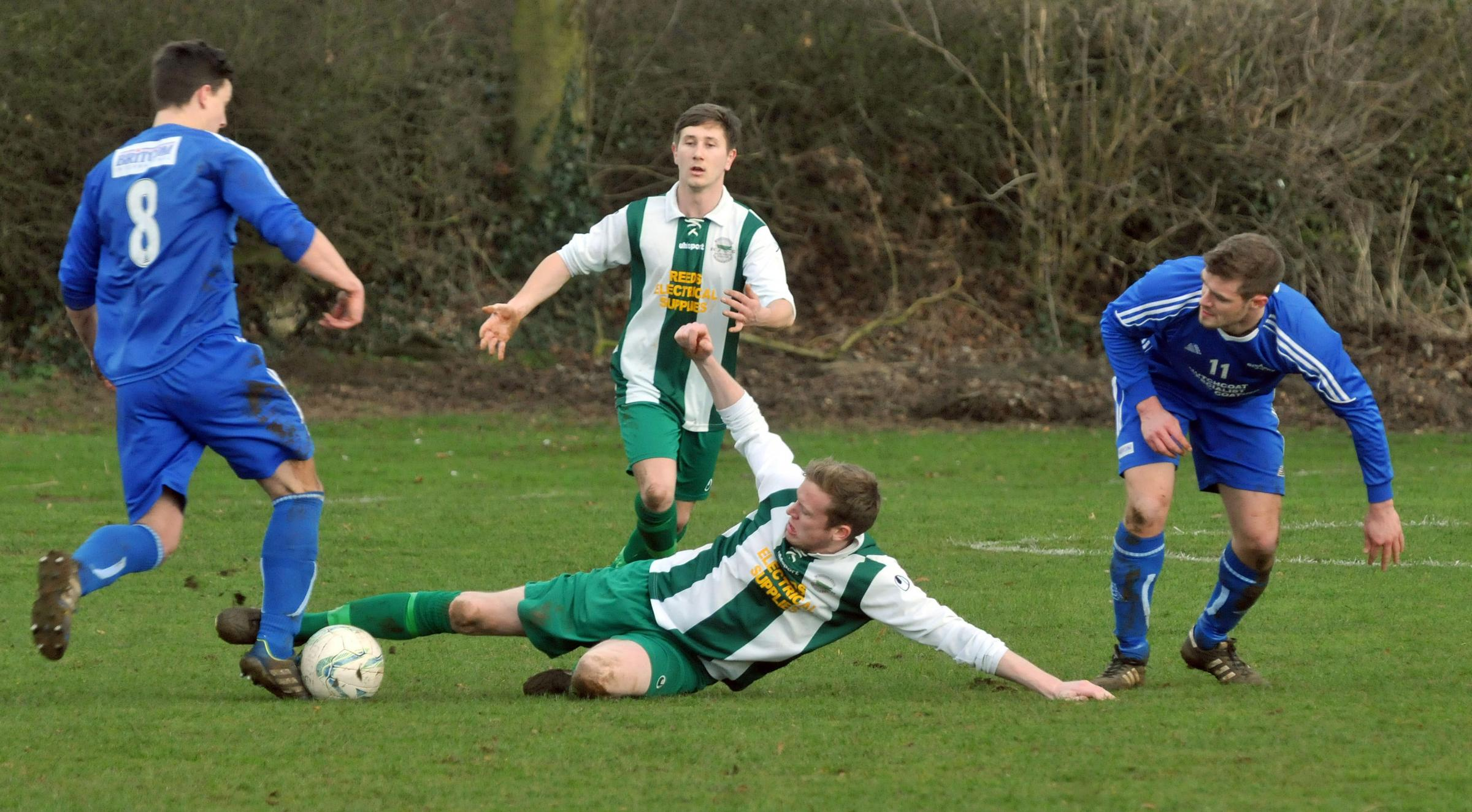 Chris Rhodes (number eight), who scored twice as Ryedale Sports Club ended their relegation campaign on a winning note