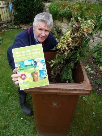John Brown, Recycling Officer for Ryedale District Council, promoting the new Garden Waste Collection Service.