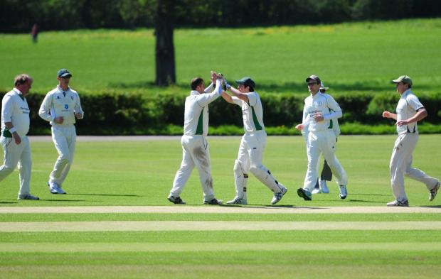 Malton & Old Malton celebrate an early wicket against Goole in York & District Senior League division one