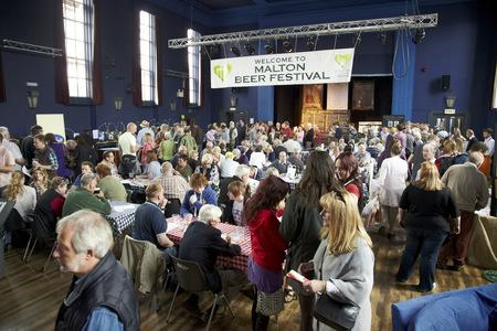 Drinkers at a previous Malton beer festival