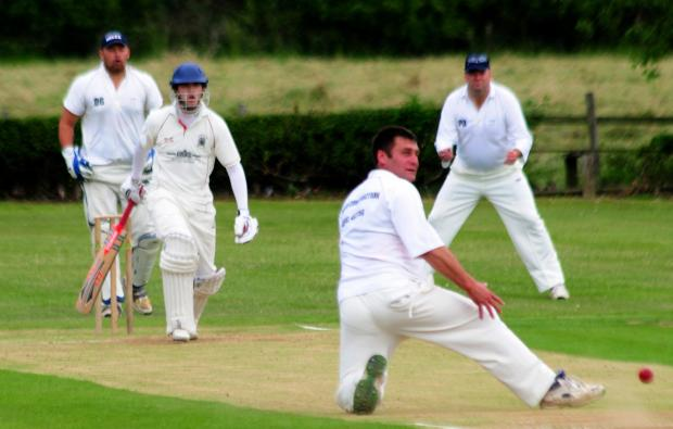 REWARD: Bowler Howard Mudd, who picked up 3-7 in support of Thomas Jefferson's 6-14 as Snainton were bowled out cheaply by Kirkbymoorside