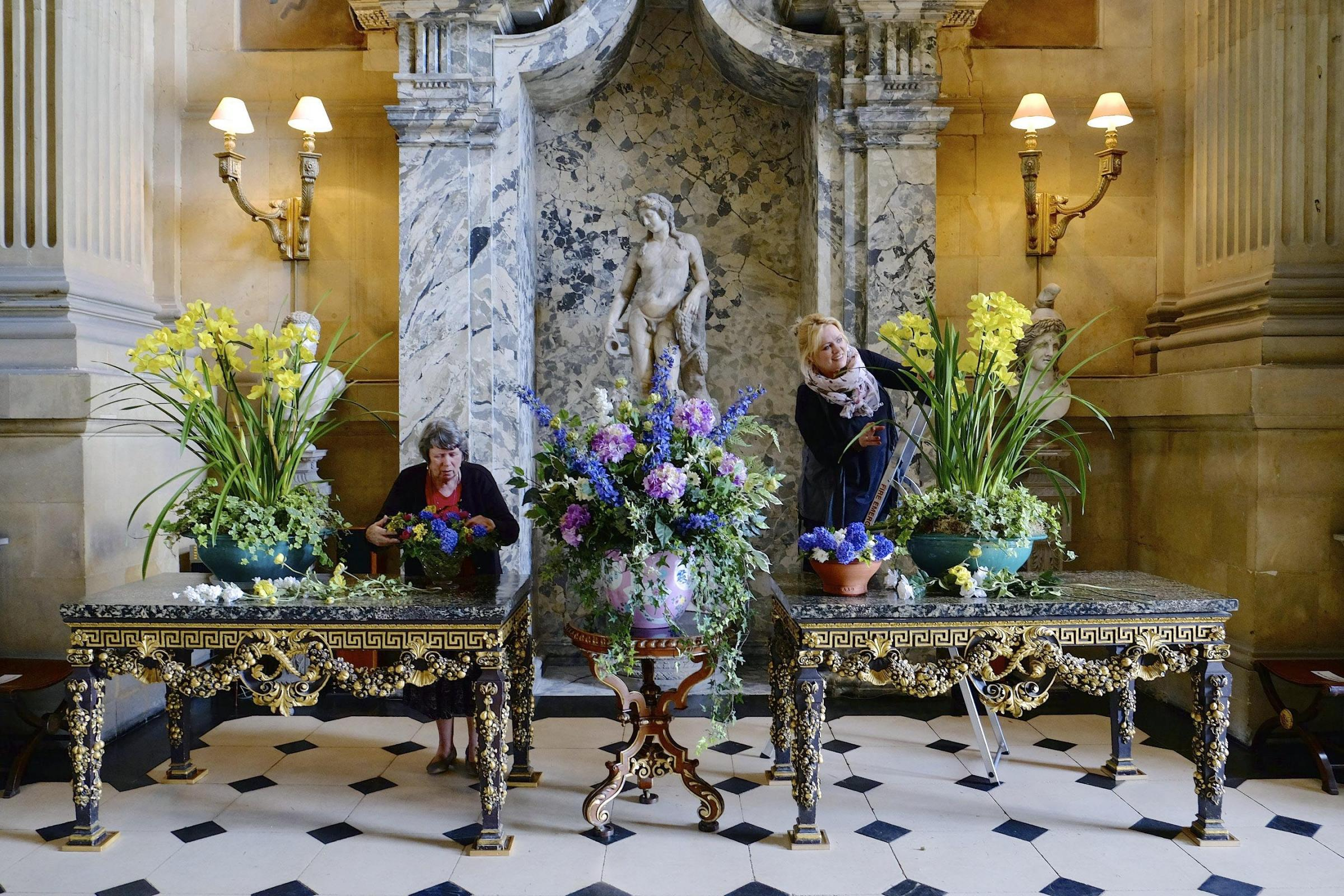 Kymm Queen, florist at Castle Howard, with her mother Carol, who was a previous florist at the house, prepare for the flower festival.  Picture: Tony Bartholomew