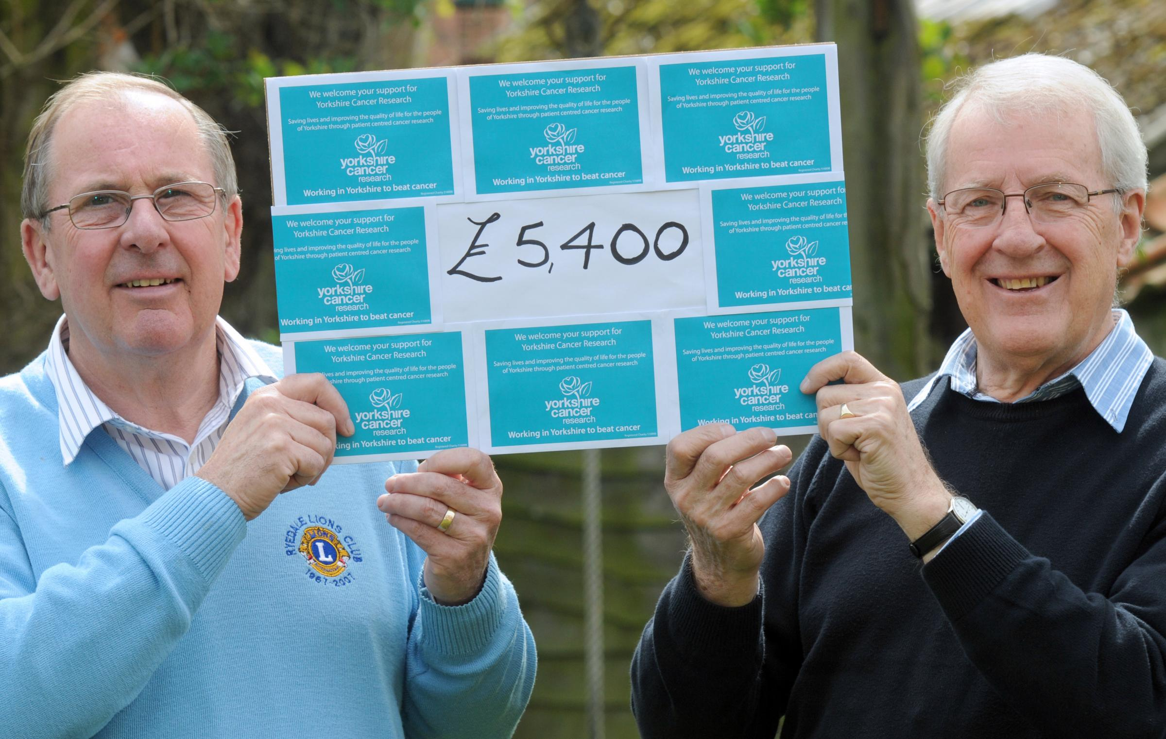 Ryedale Lions Club president Vic Hall, left, and Ken Chadwick, chairman of the Pickering committee of Yorkshire Cancer Research who have raised £5,400 for the cause