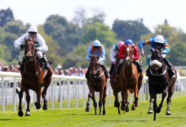RULED OUT: Lily Rules, near left, is just kept out of the winner's enclosure by Madame Chiang, far left, whose jockey Kieren Fallon seals The Tattersalls Musidora Stakes honoursPicture: Lynne Cameron/PA