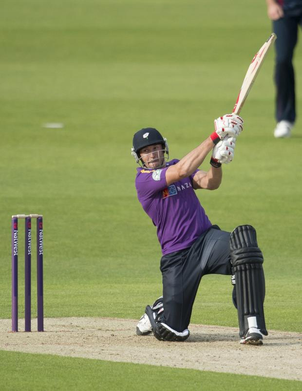 Gazette & Herald: Yorkshire Vikings' Tim Bresnan hits out in his knock of 34 not out against Northamptonshire in the NatWest T20 Blast