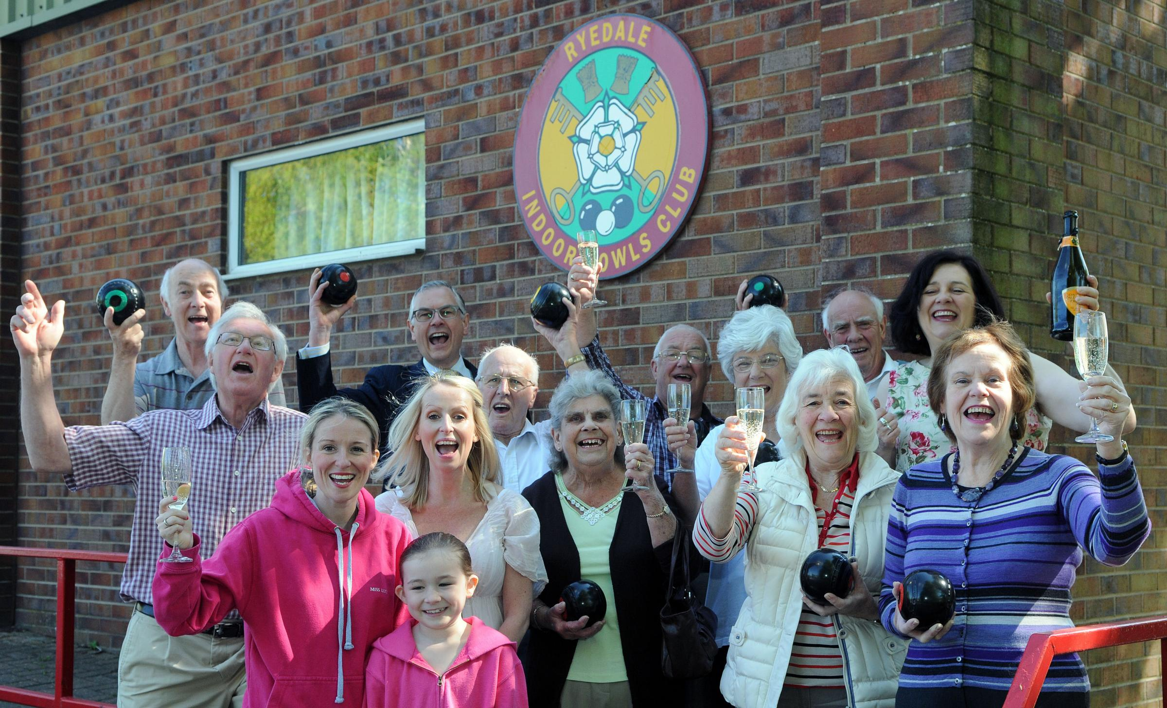 Councillor  Di Keal (back row, right) and others celebrating outside Ryedale Indoor Bowls Club, in Norton, which has been saved from closure.